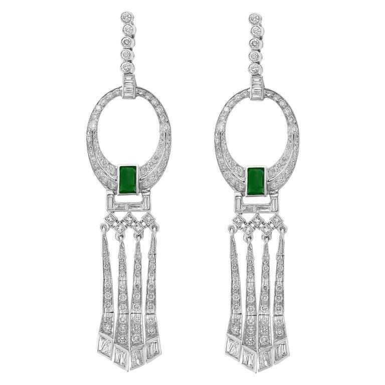 3.5 Carat Colombian Emerald Cut Emerald Diamond Hanging Earrings Platinum For Sale