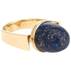 Vintage 1970s Interchangeable Ring Lapis Tigers Eye 14 Karat Gold Estate Jewelry