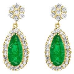 11 Carat Colombian Pear Shape Emerald Diamond Hanging Earrings 14 Karat Gold