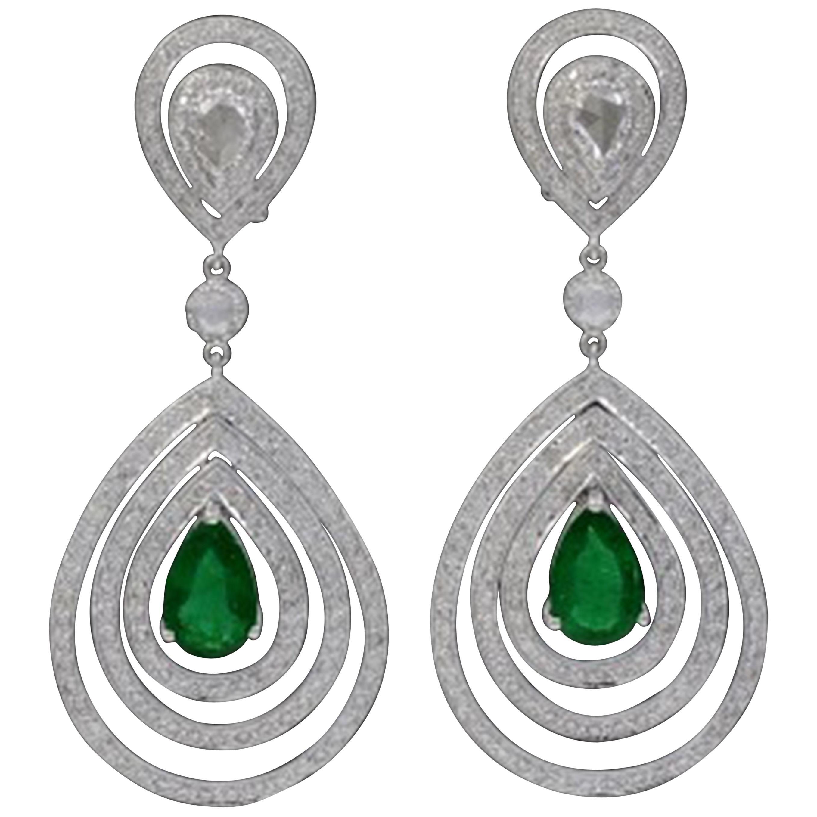 4.2 Carat Colombian Pear Shape Emerald Diamond Hanging/ Drop  Earrings 18Kt Gold