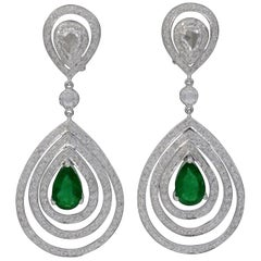 4.2 Carat Colombian Pear Shape Emerald Diamond Hanging Earrings 18 Karat Gold
