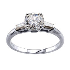 1.02 Carat E Color Diamond White Gold Engagement Ring