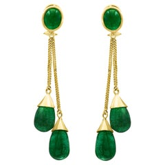 45 Carat Emerald Drops Hanging Earrings 18 Karat Yellow Gold