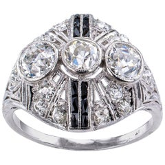 Art Deco Diamond Onyx Platinum Dinner Ring