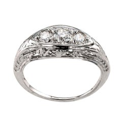 Art Deco Three-Stone Diamond White Gold Ring