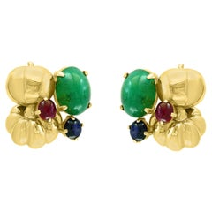 12 Carat Cabochon Emerald Diamond Clip Earrings 14 Karat Yellow Gold, Estate
