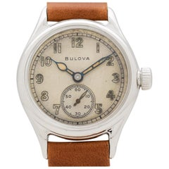 Vintage Bulova WWII-Era Military Chrome Watch, 1944
