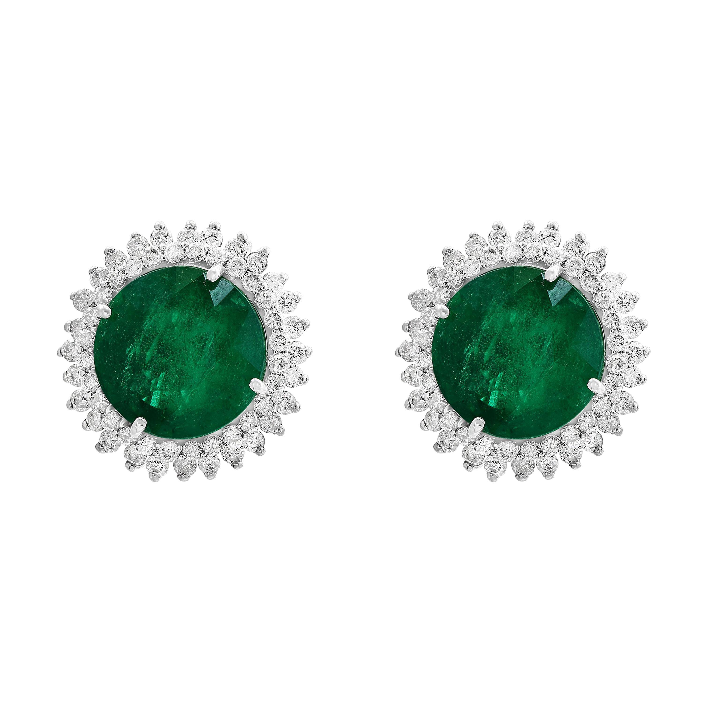 11 Carat Round Emerald and Diamond Stud Earrings 14 Karat White Gold