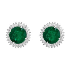 11 Carat Round Emerald and Diamond Stud Earrings 14 Karat White Gold