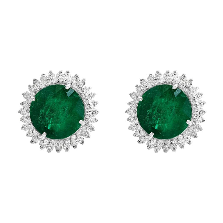 11 Carat Round Emerald and Diamond Stud Earrings 14 Karat White Gold For Sale