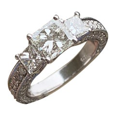 1.50 Carat Approximate, 3 Diamond Round Halo Engagement Ring, Ben Dannie