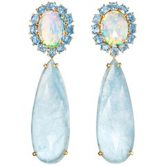 Joon Han Opal Rose Cut Aquamarine Blue Topaz 18K Gold Drop Dangle Earrings