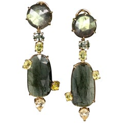 Joon Han Labradorite Tourmaline Sapphire Chrysoberyl 18 Karat Gold Drop Earrings