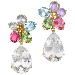 Joon Han Sapphire Aquamarine Tourmaline Topaz Diamond 18K Gold Drop Earring
