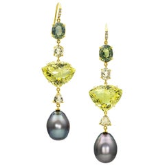 Joon Han South Sea Tahitian Pearl Quartz Sapphire Tourmaline Diamond Earrings