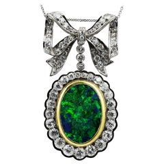 Black Opal, Beautiful Colour and Old European Diamond Pendant