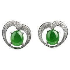 Natural Jadeite Jade & diamond encrusted Heart frame earrings in 18ct white gold