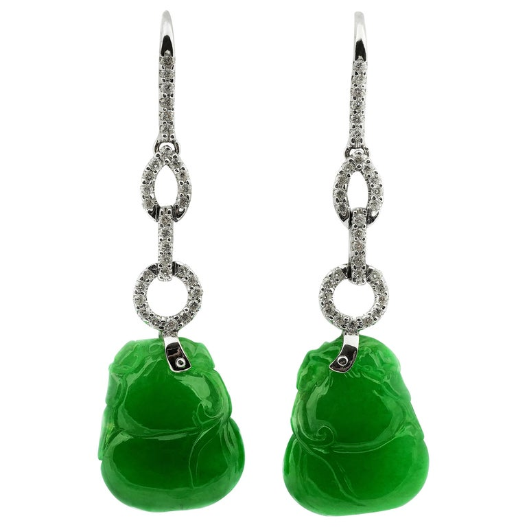 Certified Natural Jade Gourd Bottle Chinese Xian Immortals Drop Diamond Earrings For Sale
