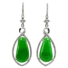 Pear Shape Myanmar Natural Untreated Jadeite Jade & Diamond Set Drop Earrings