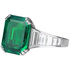 1920 Art Deco SSEF Swiss Certified Colombian Emerald 4.0 Carat and Diamond Ring