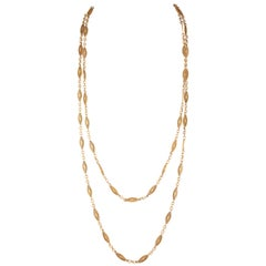 French Belle Époque 18 Carat Gold Long Necklace