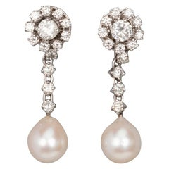 2 Carat Gold Diamonds and Pearls French Earrings