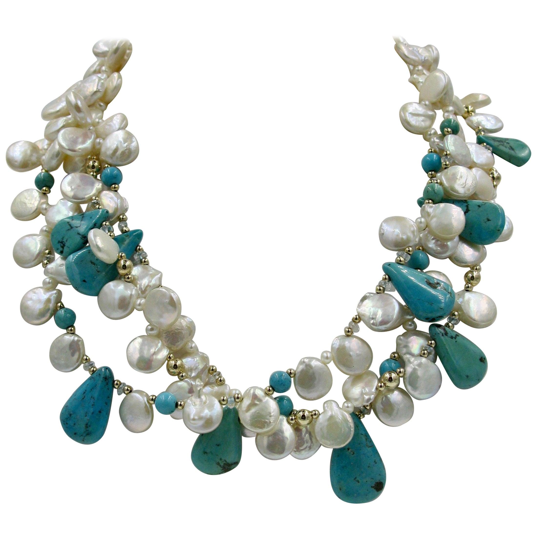 Turquoise Keshi Pearl 14 Karat Gold Necklace Triple Strand