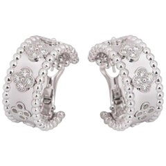 Van Cleef & Arpels  Perlée Clovers Hoop Earrings White Gold, Diamond