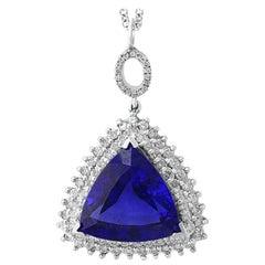 17 Carat AAA Tanzanite and Diamond Pendant or Necklace 18 Karat White Gold