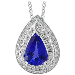 7 Carat AAA Tanzanite and Diamond Pendant/ Necklace 18 Karat White Gold