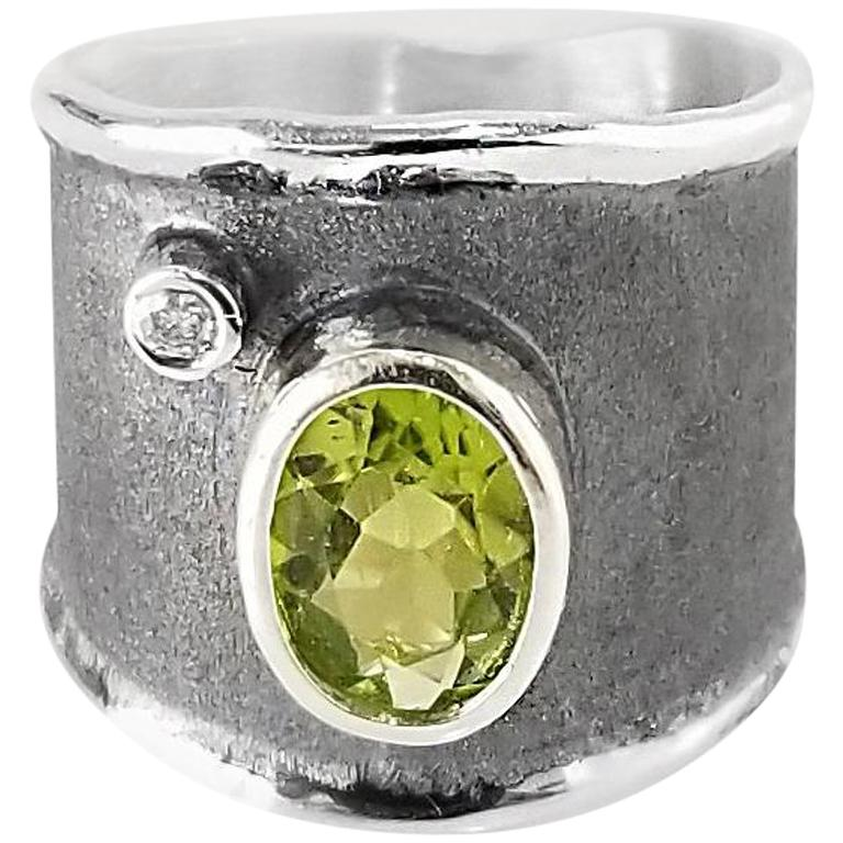 Yianni Creations Peridot and Diamond Fine Silver Black Rhodium Wide Band Ring