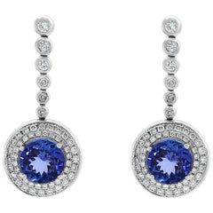 5.6 Carat Tanzanite & Diamond Hanging/Cocktail  Drop Earring 18 Karat White Gold