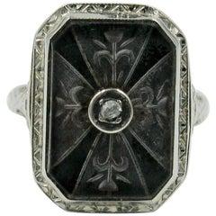 Art Deco Rock Crystal Diamond Flower Ring Edwardian Filigree 14 Karat Gold