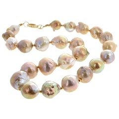 "Gemjunky Glowing 17"" Long Large Natural Cultured 18mm Pearl Necklace"