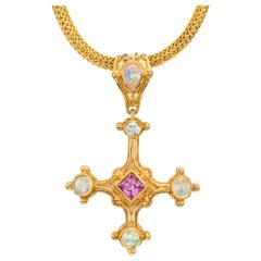 Cross Pendant Pink Sapphire, Opal, Diamond accented with gold granulation