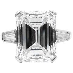 GIA Certified 7.20 Carat F VVS2 Emerald Cut Diamond Platinum Ring