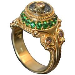 Green Sapphire 'Torus' cut, Champagne Diamonds, Tsavorite Garnet Cocktail Ring
