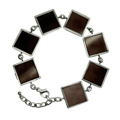 Sterling Silver Art Deco Ink Bracelet with Dark Smoky Quartzes