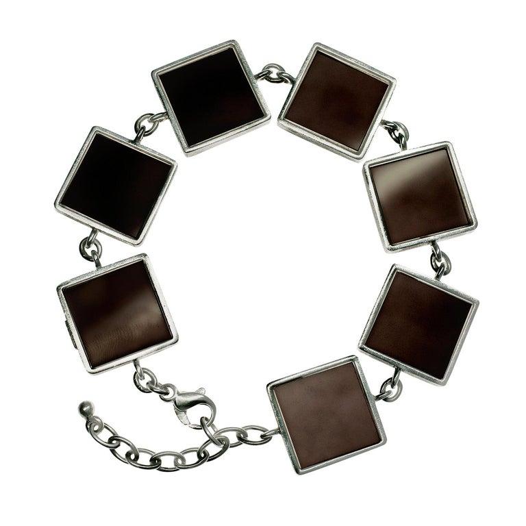 Contemporary Ink Bracelet with Dark Smoky Quartzes For Sale