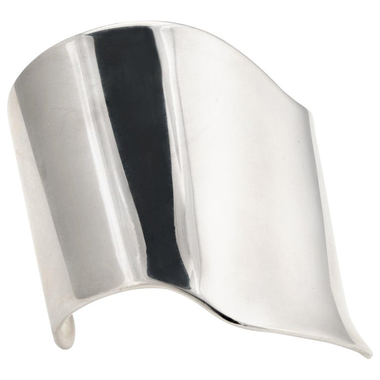 Barry Kieselstein Cord Cuff Bracelet Sterling Silver Sculptural Large Estate For Sale
