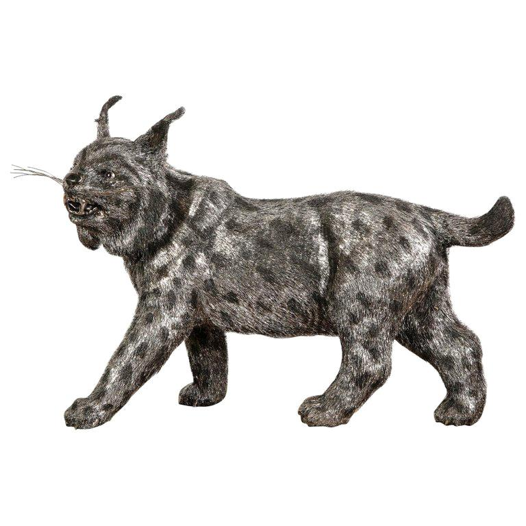 Gianmaria Buccellati, a Rare and Exceptional Italian Silver Bobcat For Sale