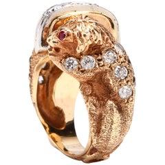 Vintage 14 Karat Yellow Gold Diamond and Ruby Lion Ring