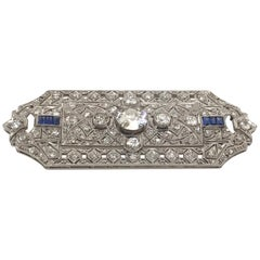 Edwardian Old Cut Diamond and Sapphire Hand Pierced Brooch in Platinum