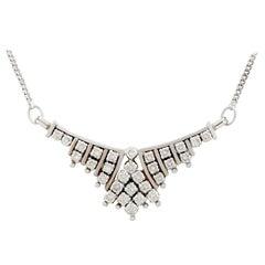 Vintage 1960s Russian 1.02 Carat Diamond White Gold Necklace