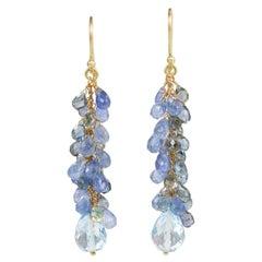 18 Carat Yellow Gold Sapphire and Blue Topaz Cascade Earrings