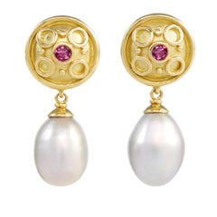 18 Carat Yellow Gold Ruby and Freshwater Pearl Drop Earrings