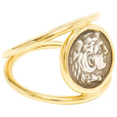 Dubini Alexander the Great Silver Coin 18K Yellow Gold Signet Ring