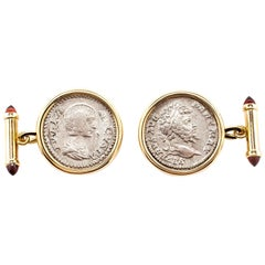 Dubini Empires Roman Ancient Silver Denarius Coin Garnet 18K Gold Cufflinks