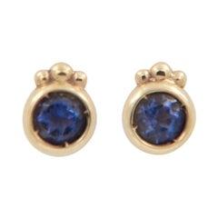 Julia-Didon Cayre 18 Karat Gold Stud Earrings with Iolite