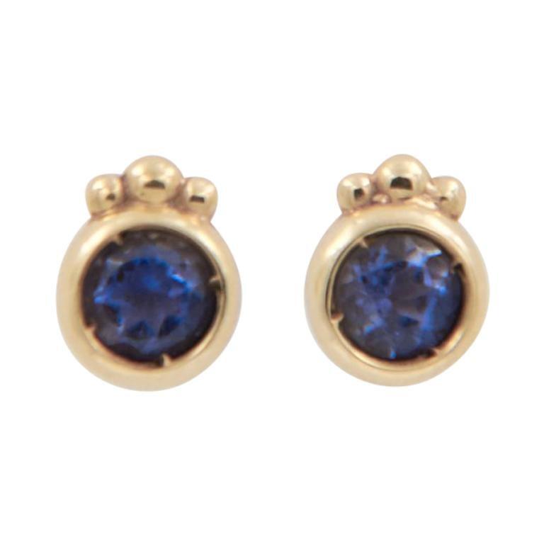 Julia-Didon Cayre 18 Karat Gold Stud Earrings with Iolite For Sale